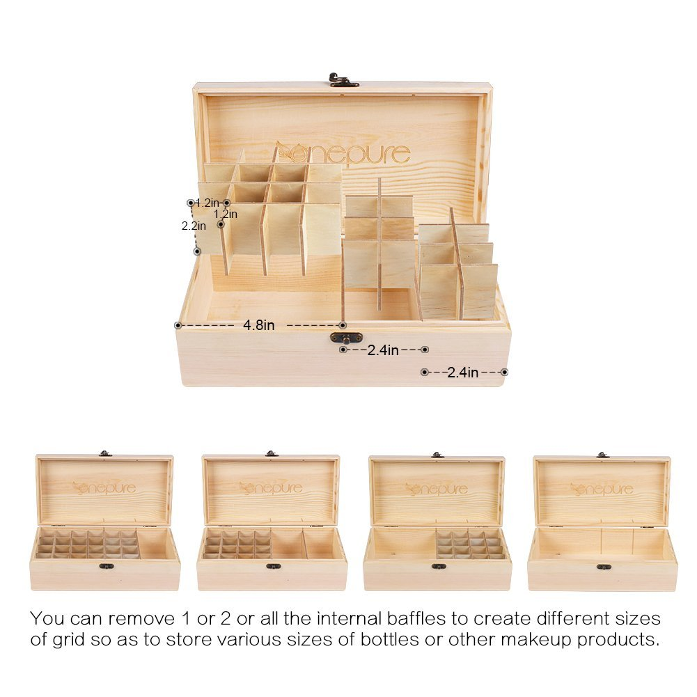 Onepure Essential Oil Storage Box Wooden Oil Case